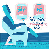 The passenger seat in airplane business class. Cocktail on the site of the chair. Lettering quote - Be there you want to be. Flat vector illustration
