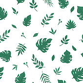 Vector tropical seamless pattern with monstera, palm tree and fern leaves. Jungle foliage repeat background. Hand drawn flat exotic plants background. Bright childish summer greenery texture.