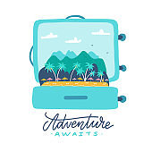 Adventure awaits - lettering quote. Open travel suitcase with tropical island, palm trees, umbrellas and mountains inside. Flat vector illustration.