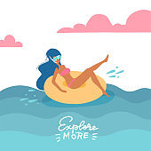 Young woman in swimsuit and snorkeling mask relaxing on a rubber ring in the sea. The girl on a summer holiday swims on a swim ring. Vector flat illustration. with lettering quote Explore more