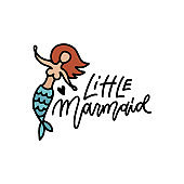 Little mermaid hand drawn doodle art. Cute drawing for clothes design prints, posters, stickers. Vector linear vintage illustration of sea character and lettering quote.