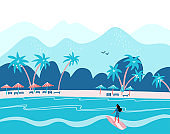 Surfing girl on a beach. Palm, sand, ocean on background. Banner, site, poster template with place for your text. Flat vector illustration in blue colors