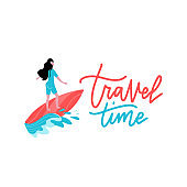 Summer Time Banner with Women Character Surfing on Blue Ocean Wav. Cartoon Sportswomen Riding Surf Board in Motion. Extreme Water Sport Activities on Vacation. Vector print with lettering Travel time