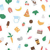 Seamless pattern with junk and healthy food and drink icons. Vector repeat background with ice-cream, pizza, vegetables, milk products, chocolate, candy, pastry. Flat hand drawn nutrition texture.