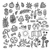 Icon set summer beach holidays, travel, vacation with sand castle, shoes, ice cream, shells, ball, drink, towel, sunglasses, parasol. Hand drawn black and white doodle vector illustration.