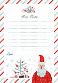 Christmasletter to Santa Claus template - flat vector illustration. Notebook sheet page. Winter holiday themed with place for text and Santa character and xmas tree.