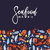 Seafood menu design for restaurant or cafe. Vector flat template with pattern decor and hand drawn lettering text.