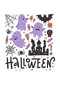 Flying ghost spirit on Haloween invitation template. Scary white ghosts. Cute cartoon spooky character. Happy Halloween. White background. Lettering Greeting card. Flat vector design.