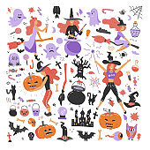 Cute young witch halloween set objects. Collection design element with femela characters, pumpkin, witch hat, spider, skull, cat, bat. Vector flat iillustration.