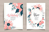 Wedding Invitation Card Front Back Side Set. Template Design, Rose hip Flowers with Leaves on White Background, Floral Pastel Vintage Theme Poster Banner Brochure. Cartoon Flat Vector Illustration