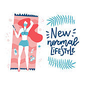 Girl sunbathes on the beach in a mask, summer 2020, life after the covid-19 pandemic. Lettering quote - New normal lifestyle. Flat hand drawn Vector illustration.