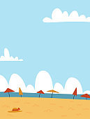 Summer Seascape background. Sand Beach with many umbrellas and white clouds. Vector flat cartoon Illustration with free space for text. Poster template background