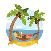 Young bearded man on beautiful tropical beach with blue ocean and palm . Coconut trees. Male character lying in hammock. Vector Illustration isolated on white background.