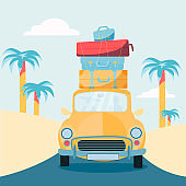Planning summer vacations, Travel by car. Vehicle with suitcases on roof. World Travel, Summer holiday,Tourism and vacation theme. Flat design vector illustration.