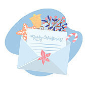 Christmas letter coming out of white envelope with gift box, gingerbread, cup and holly, bell, gingerbread . Paper with Xmas message. Vector flat illustration