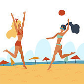 Two Young women playing volleyball on the beach. Flat cartoon vector illustration. Friends playing beach volleyball. Recreational summer activity, healthy lifestyle