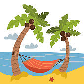 Vacation and travel concept. Red Hammock between coconut palm trees on Background of the sea. sand beach landscape. Cartoon flat vector stock illustration