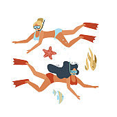 Set of young female divers. Two women in swimsuits swimming underwater. Active recreation. Scuba diving and snorkeling. Flat hand drawn vector illustration.