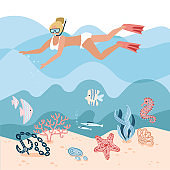 Woman character free diving or snorkeling underwater on sea bottom with corals and seaweed. Girl swimmer. Active recreation, vacation and leisure activity. Cartoon Flat Vector Illustration.