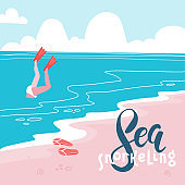 Sea snorkeling- Colorful flat vector cartoonstyle art with a diving woman in flippers. Sand beach landscape. Travel concept.Vector flat illustration