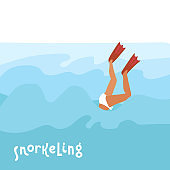Flippers up - Colorful cartoon flat vector style art with a diving woman in flippers and lettering quote Snorkeling. Sea snorkel. Flat hand drawn vector illustration.