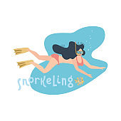 Young woman in swimsuite diving under the sea. Minimalism design with letterong and tropical fish. Flat hand drawn vector illustration.