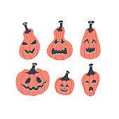 Funny Halloween pumpkins set vector illustration. Simple flat style.