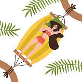 Young woman character lying in a hammock under the palm trees. Top view. Flat editable vector illustration, clip art on white background