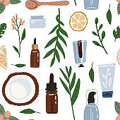 Organic cosmetic seamless pattern with bottles, jars, tubes. Herbal cosmetics background . Woman stuff, eco girls accessory concept. Natural face care products. Vector Flat hand drawn illustration