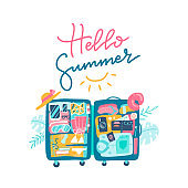 Open suitcase with the beach accessories inside the luggage. Text lettering design of HELLO SUMMER. Vector hand drawn flat illustration.