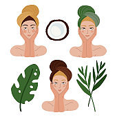 Set of Beautiful woman faces for skincare, beauty care, makeup sample. Women portrait Isolated on white. Female heads in towels with green tropical leaves.