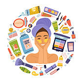 Set items makeup cosmetics. Portrait young woman with patches. Vector flat hygiene products. Girl brushing with towel on her head. Concept healthy lifestyle
