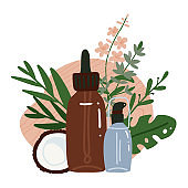 Coconuts serum and coconut oil with tropical palm leaves. Organic cosmetics. Healthcare isolated concept. Alternative therapy. Vector flat hand drawn illustration on white background.