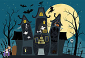 Vector haunted house interior illustration. Halloween background. Spooky cottage scene with big moon, ghosts, bats, children on dark blue background. Scary Samhain party invitation or card design.