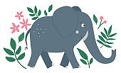 Vector cute composition with elephant, tropical leaves and flowers. Funny exotic African animal illustration. Bright flat picture for children. Jungle summer clip art