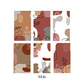 Vector set of abstract backgrounds 9x16 with copy space for text. Pastel autumn vertical banners, posters, cover design templates, social media stories wallpapers with leaves and women.