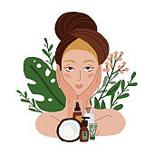 Beautiful girl with towel and coconut natural cosmetics. Spa beauty facial care . Women with beauty plants and flowers on background. Vector flat Illustration
