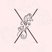 Elegant letter X. Thin line. Vintage pattern with flowers. Calligraphic Logo. Floral Drawn Emblem for Book Design, Brand Name, Business Card, Jewelry, Restaurant, Boutique. Vector illustration