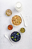 Nutty granola with blueberries