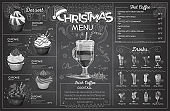 Vintage chalk drawing christmas menu design. Restaurant menu