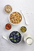 Overhead shot of healthy breakfast ingredients