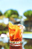 Negroni cocktail at the resort bar or suite patio. Luxury resort, vacation, room service concept