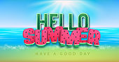 Typography hello summer poster with watermelon on beach background. Summertime background