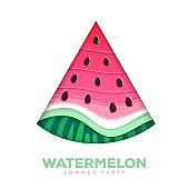 Cut out Silhouette of watermelon slice. Cut out paper art style design. Vector illustration