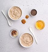 Oatmeal porridge overhead shot