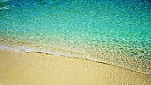 Beautiful sand and crystal clear soft blue wave of the sea. Summer beach background.