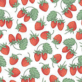 seamless pattern with hand drawnberries of strawberry