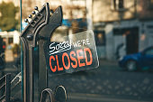Close-up sign - sorry we are closed