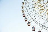 Ferris wheel against the blue sky