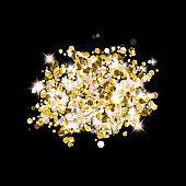 Gold Glitter Stars. Luxury Shiny Confetti.
